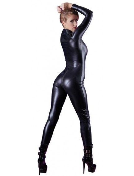 Combinaison Noir Ajustée Wet Look Zip Coquin Cottelli Collection