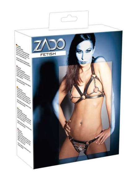 Bikini Erotique en Cuir Anneaux et Chaînes ZADO