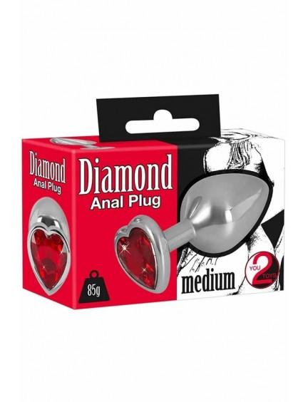 Plug anal en métal et coeur 85g YOU 2 TOYS