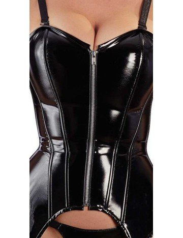 Guêpière en Vinyle Noir Brillant Zip Erotique Black Level