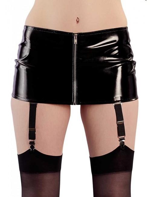 Mini jupe Noir Brillante et Porte Jarretelles Black Level