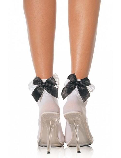 Soquettes blanches dentelle et noeud noir LEG AVENUE