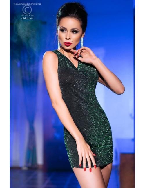 Robe Courte Glamour vert Scintillent CHILIROSE