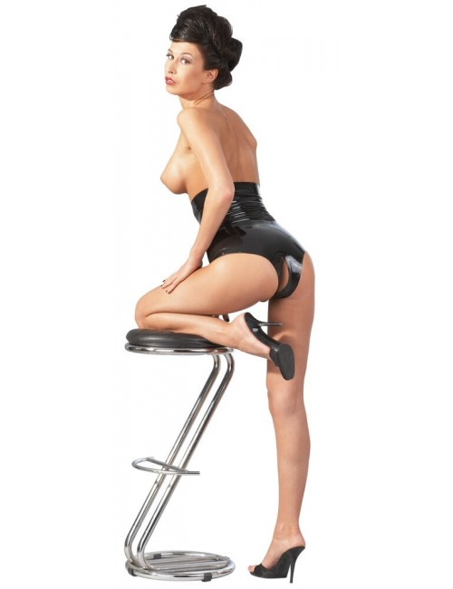 Culotte Taille Haute en Latex noir Ouverte Latex Collection