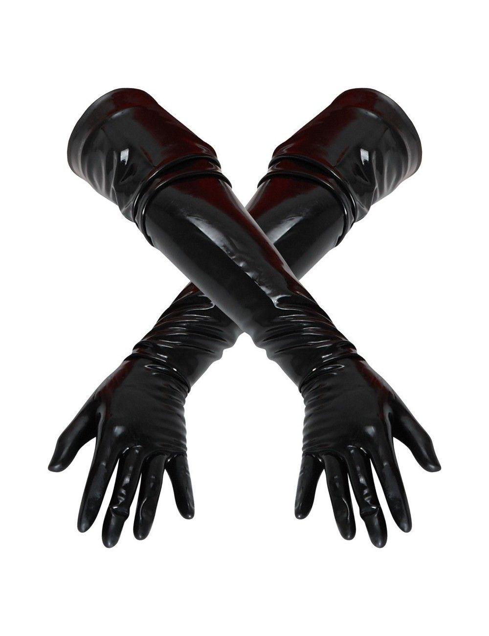 Gants Longs en Latex Noir Latex Collection