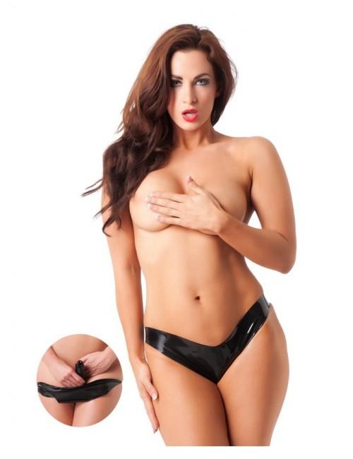 Culotte Latex Noir Avec Dildo Rimba