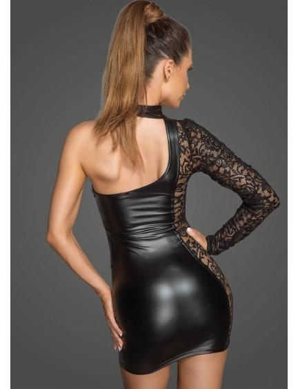 Robe Asymétrique Bi-matière Rebellious Noir Handmade