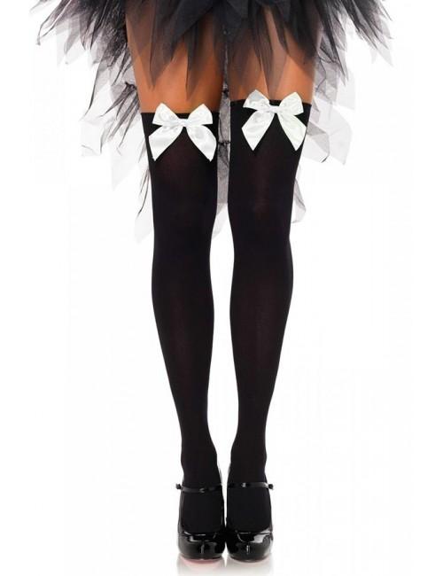 Bas opaques noir et noeud blanc LEG AVENUE