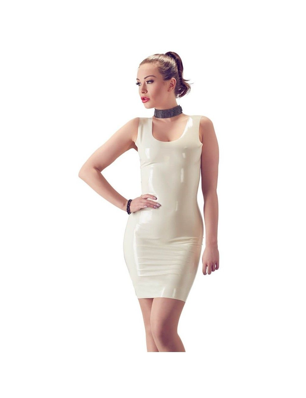 Robe Courte en Latex Blanc Latex Collection