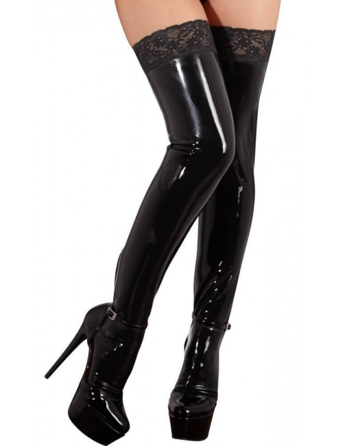 Bas Latex Noir Jarretière Latex Collection