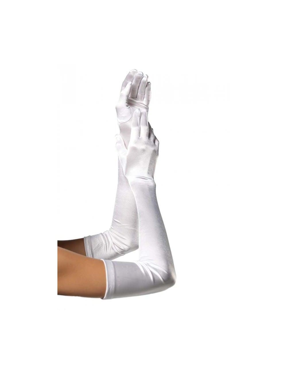 Gants blancs satinés et longs LEG AVENUE