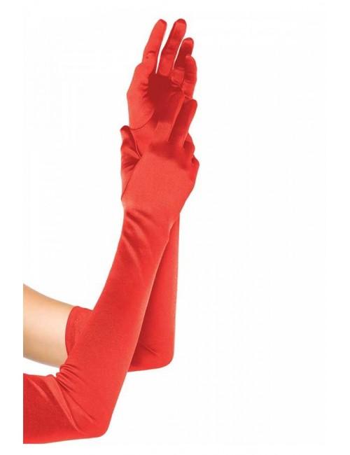 Gants rouges satinés et longs Leg Avenue