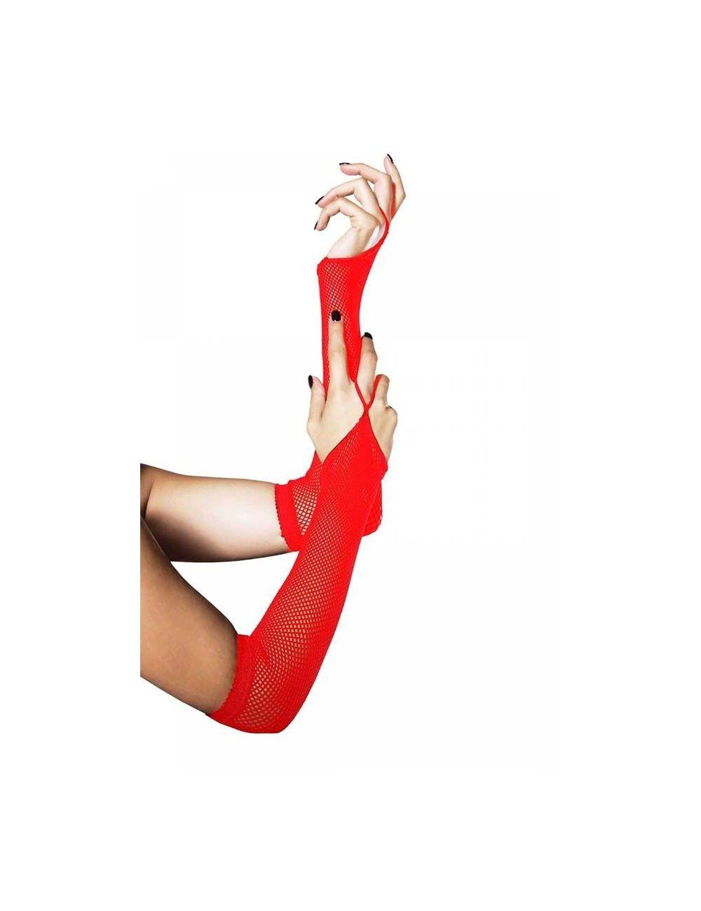 Gants rouge résille avec attache un doigt Leg Avenue