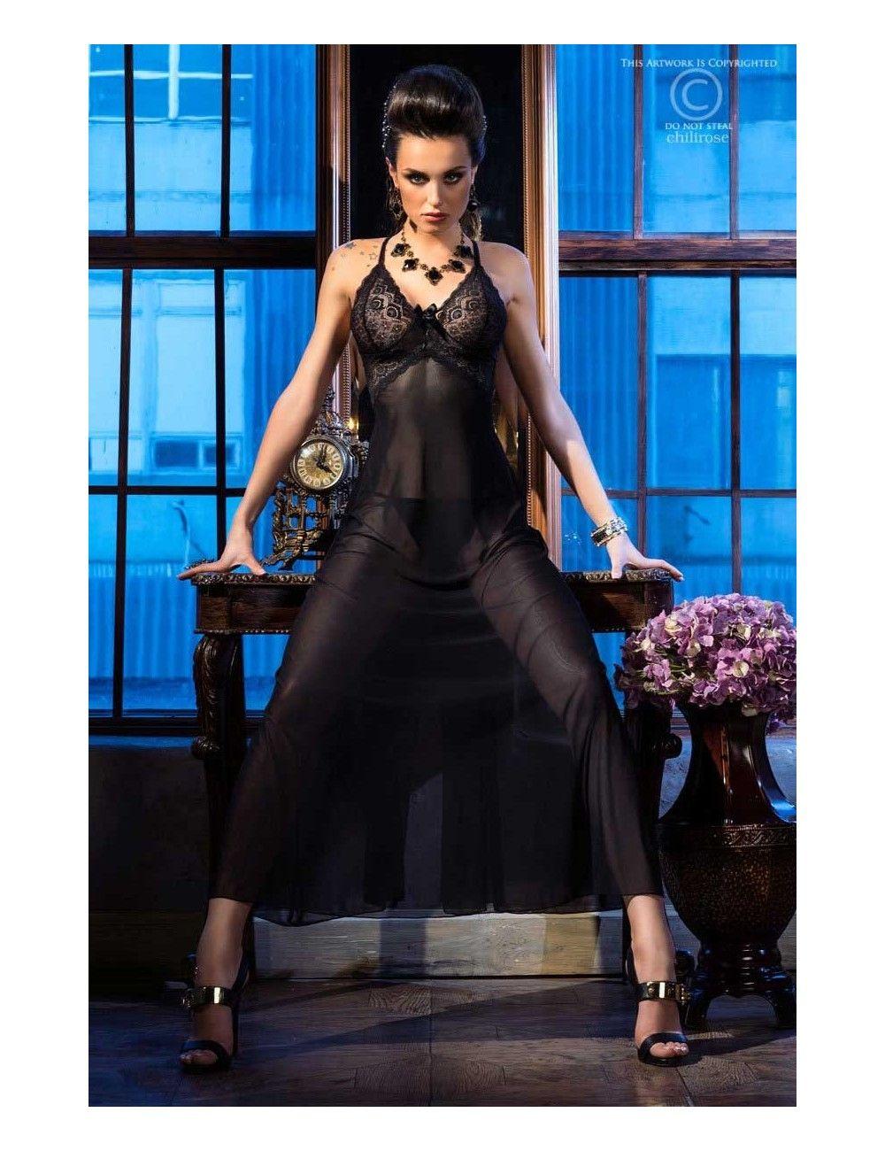 Robe Lingerie Dentelle Noir et Fine Résille Glamour Chilirose