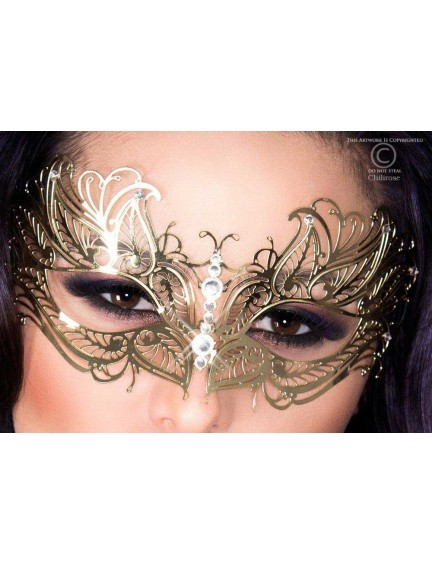 Masque Glamour en Métal Flexible Or et Strass Chilirose