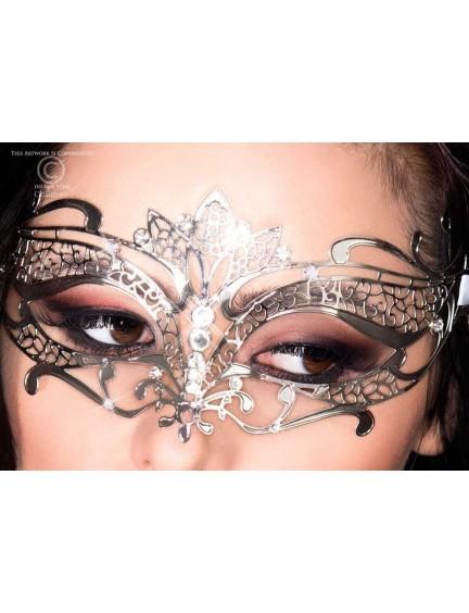 Masque Glamour en Métal Flexible Argent et Strass Chilirose