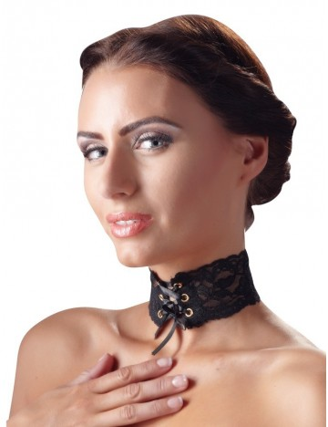 Collier Tour de Cou Dentelle noir 6 Oeillets et Laçage Satiné Cottelli Collection