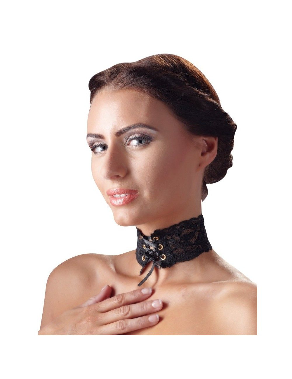 Collier Tour de Cou Dentelle noir Laçage Cottelli Collection