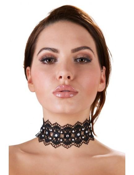 Collier Tour de Cou Brodé noir Orné de Perles et Strass Cottelli Collection