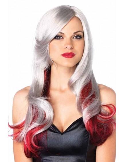 Perruque cheveux longs dégradé argent rouge Leg Avenue