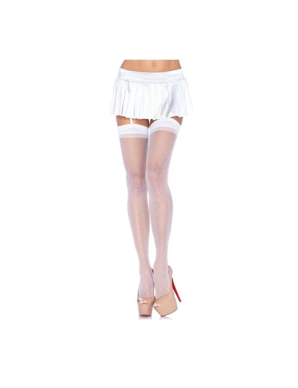Bas Sexy Blanc & Voile Galbant LEG AVENUE