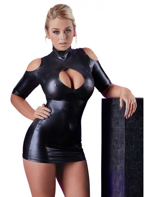 Robe Mini Noir Brillant Décolleté Erotique Cottelli