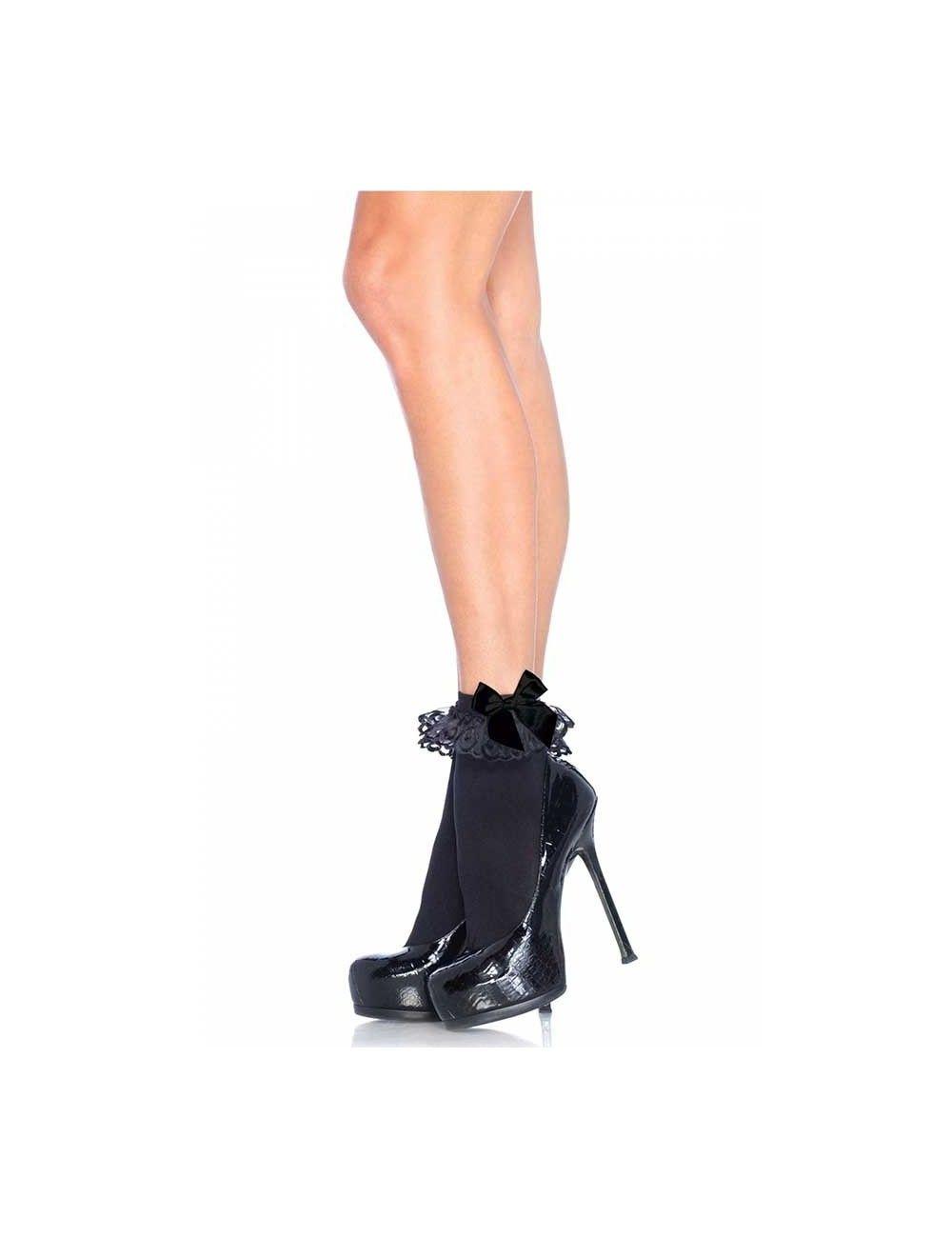 Soquettes noires avec dentelle et noeud LEG AVENUE