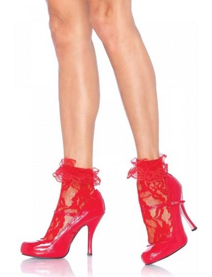 Soquettes rouges en dentelle et volant LEG AVENUE