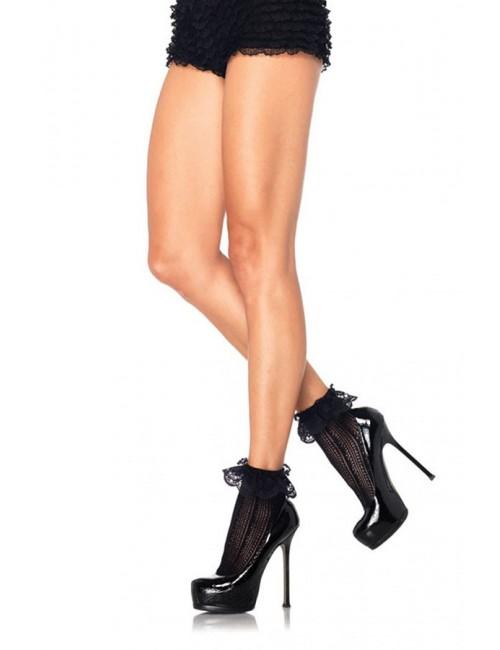 Soquettes noires crochet et dentelle LEG AVENUE