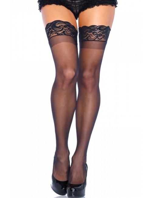 Bas Autofixants Jarretières noir sexy size LEG AVENUE