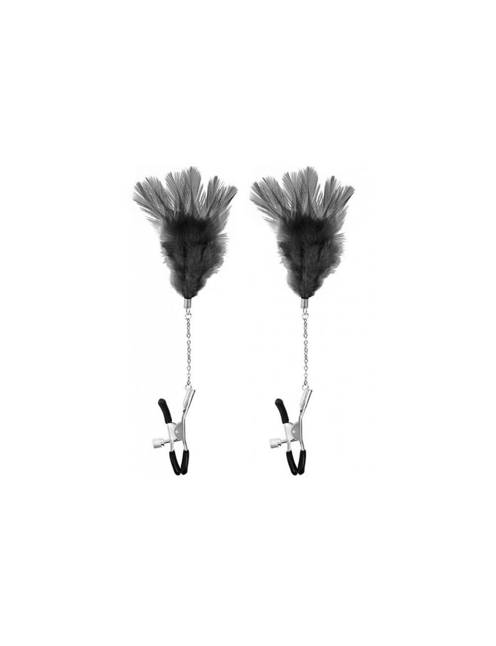 Pinces à tétons et plumeau noir SWEET CARESS
