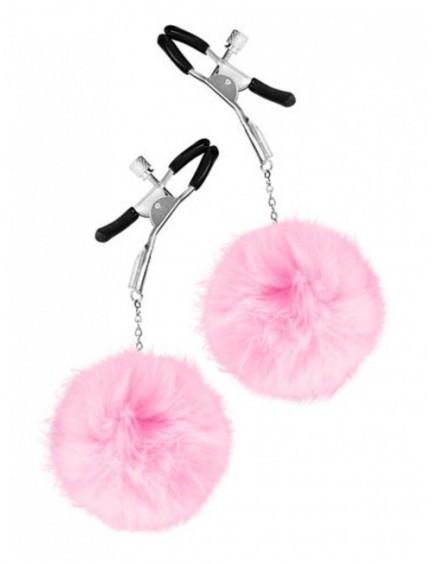 Pinces à tétons réglables et pompon rose SWEET CARESS