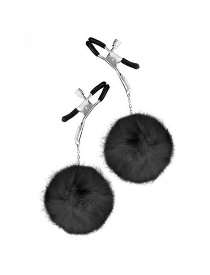 Pinces à tétons réglables et pompon noir SWEET CARESS