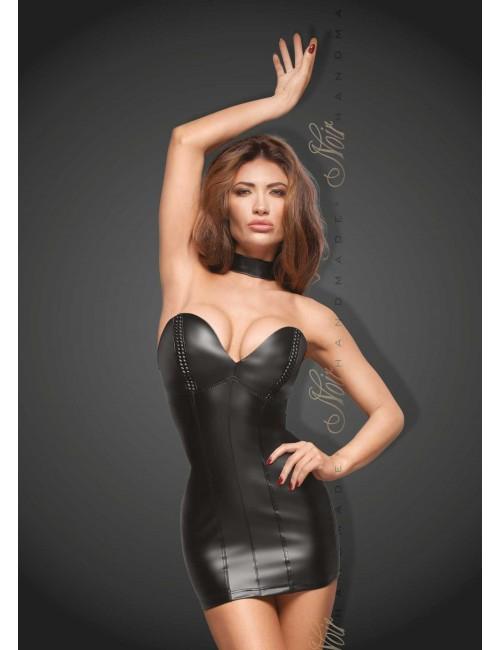 Robe Noir Wetlook à Balconnets Erotique Noir Handmade