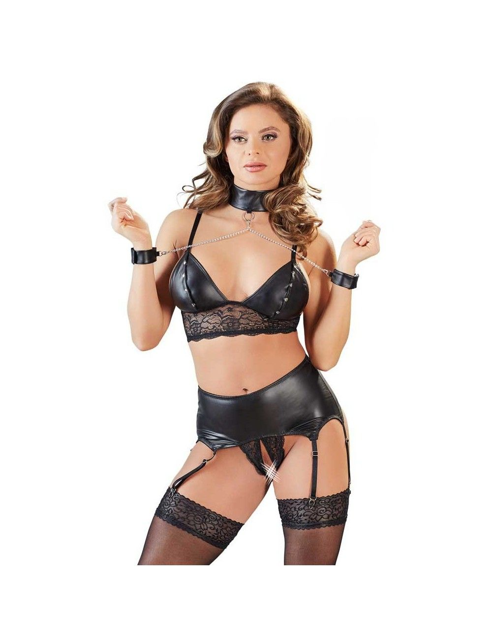 Lingerie Erotique Ouverte 5 Pièces Wetlook Cottelli Collection