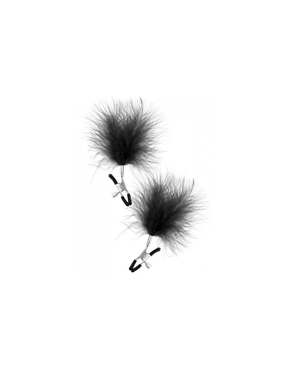Pinces à seins plumes noires SWEET CARESS