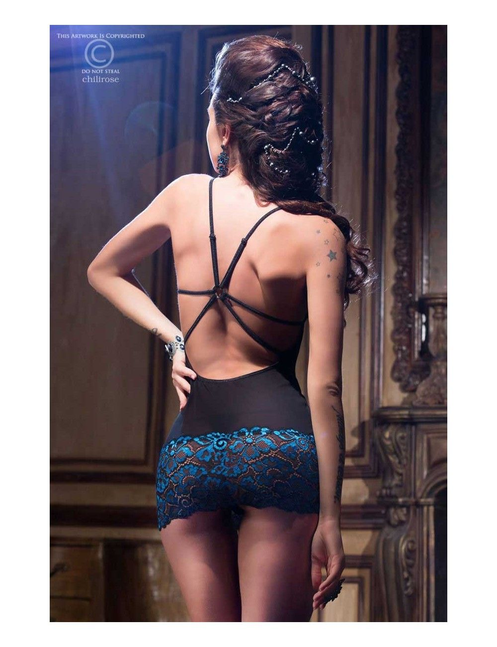 Nuisette Bleu Saphir Résille Noir Dos Glamour Chilirose