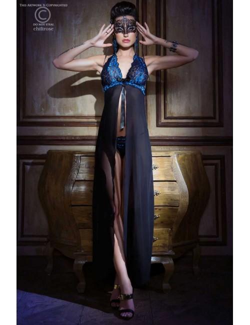 Robe Lingerie Bleu Saphir et Fine Résille Noir Chilirose