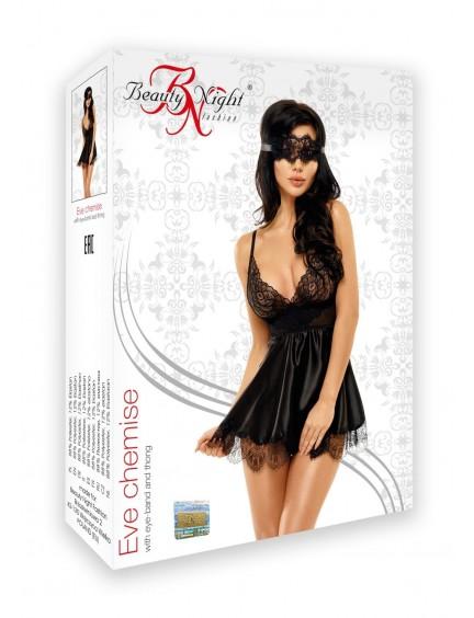 Babydoll noir 3 pièces Eve Beauty Night