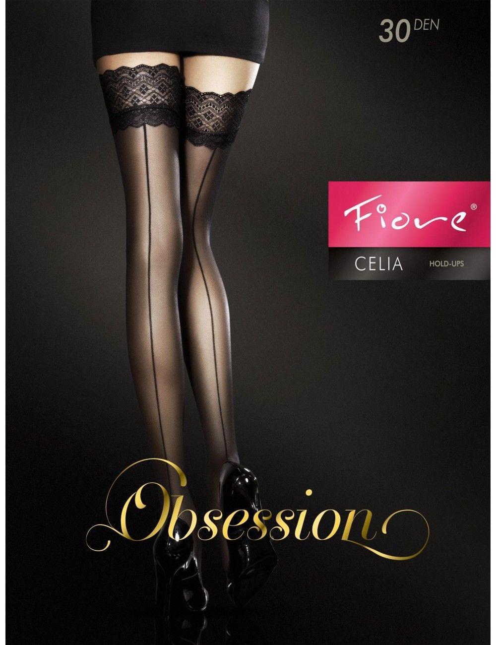 Bas Couture Noir Autofixant Celia Fiore