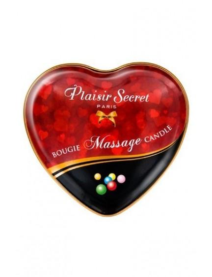 Bougie de massage coeur Bubble Gum PLAISIRS SECRETS