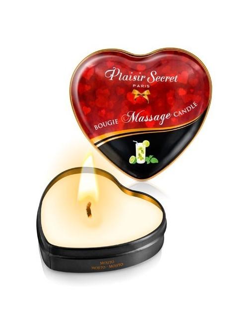 Bougie de massage coeur Mojito PLAISIRS SECRETS