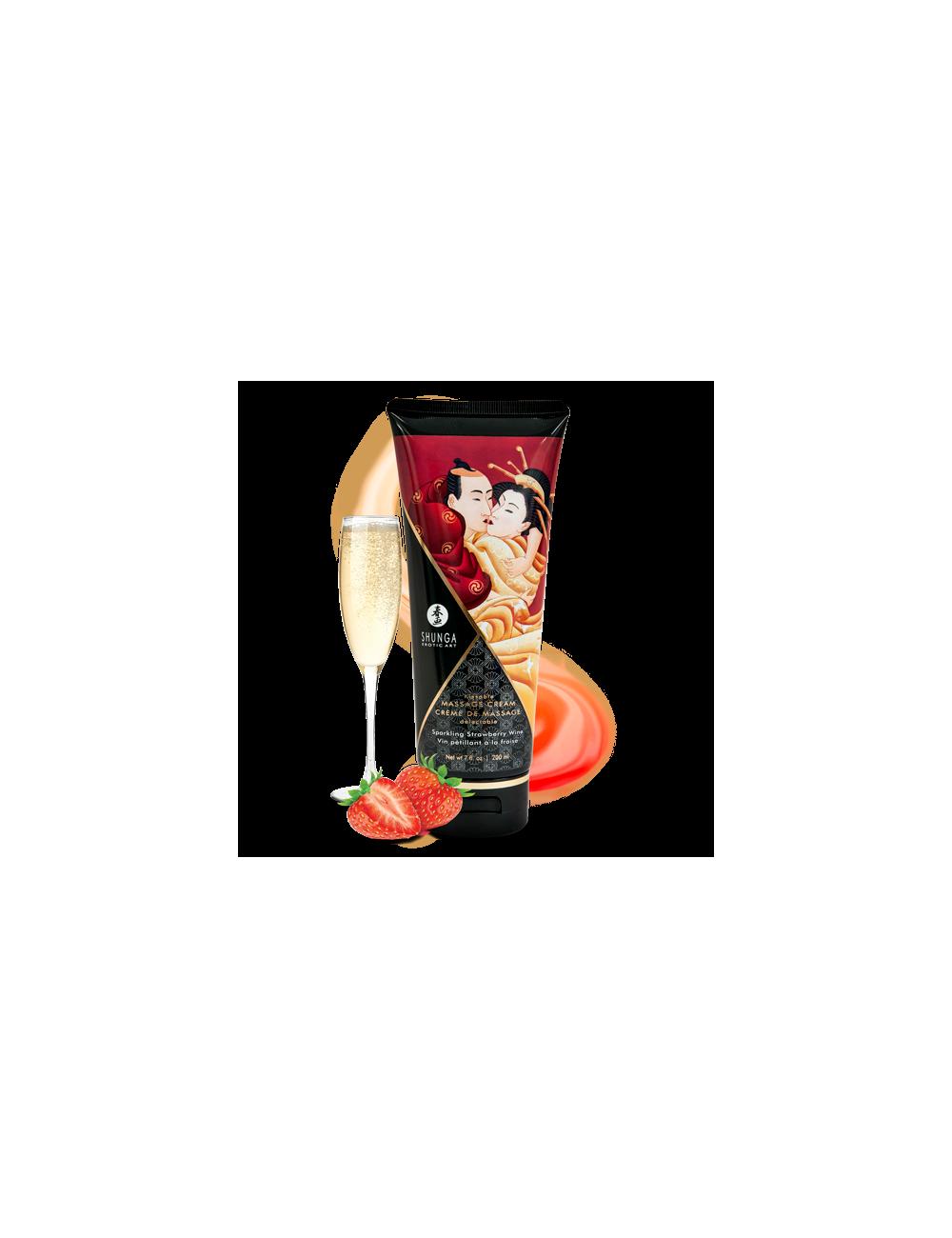 Crème de Massage Savoureuse Vin pétillant à la fraise Shunga