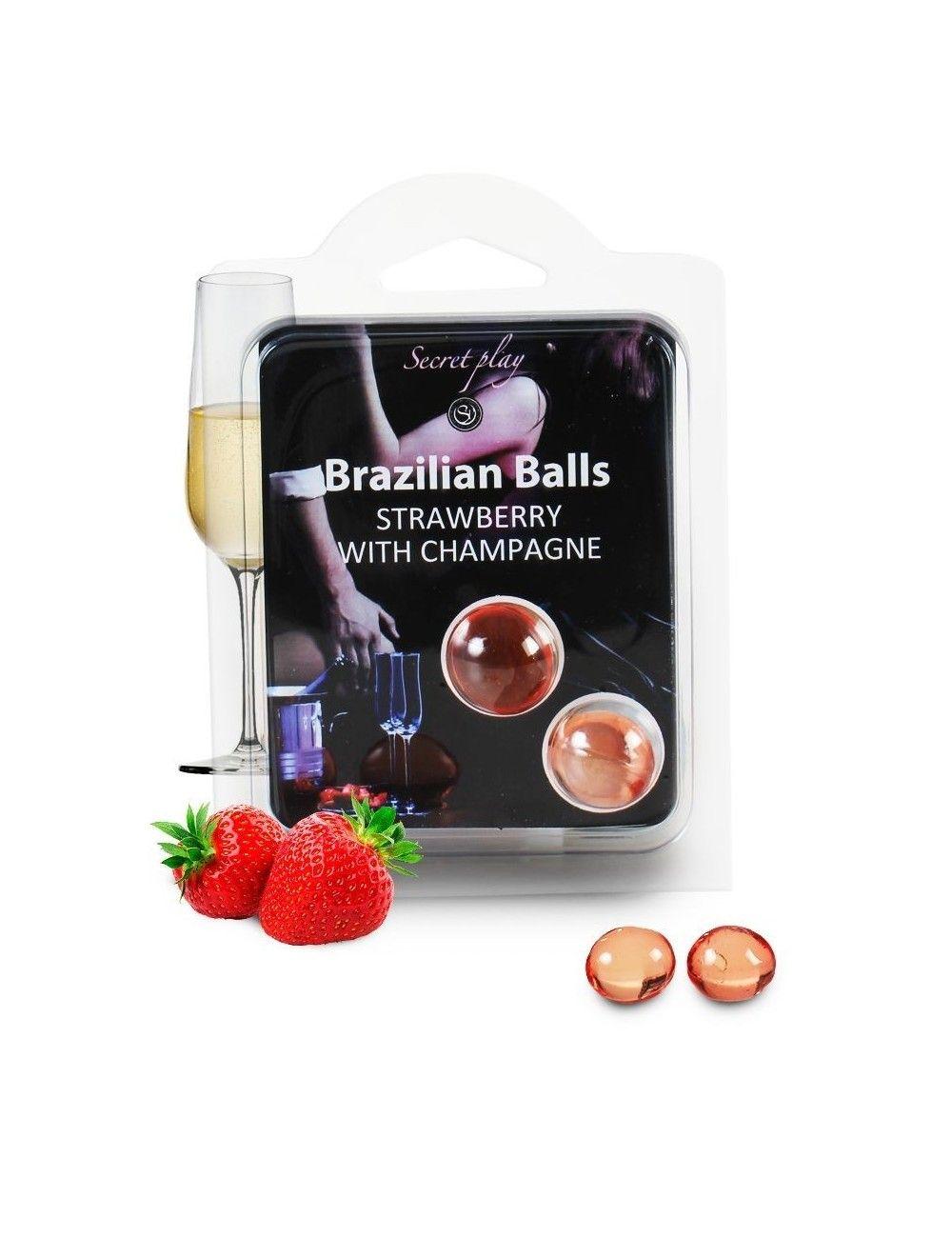2 boules brésiliennes Fraise Champagne BRAZILIAN BALLS
