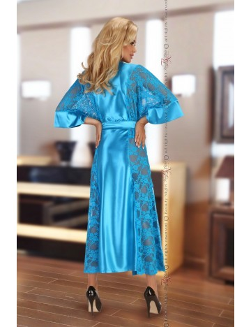 Peignoir long turquoise + String BEAUTY NIGHT