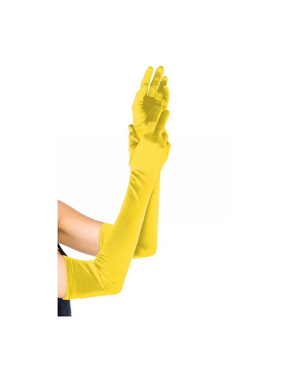 Gants jaunes satinés et longs Leg Avenue