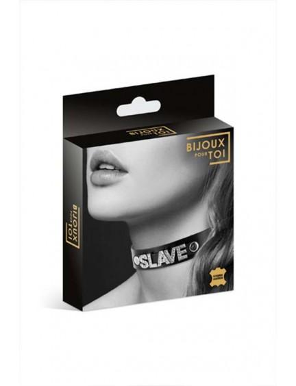 Collier Cuir Noir Strass Slave Bijoux Pour Toi