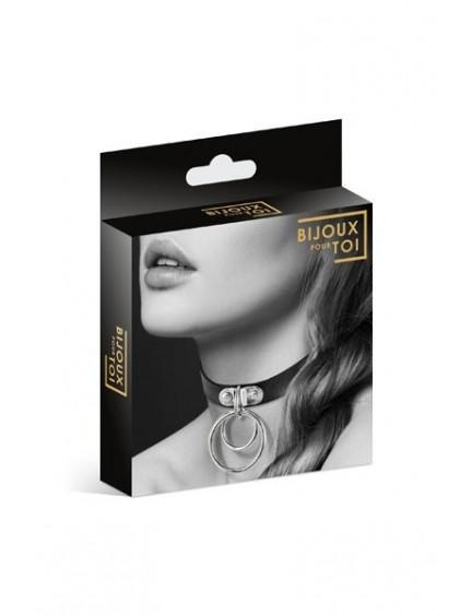 Ras de cou Cuir Noir et Double Anneau Bijoux Pour Toi