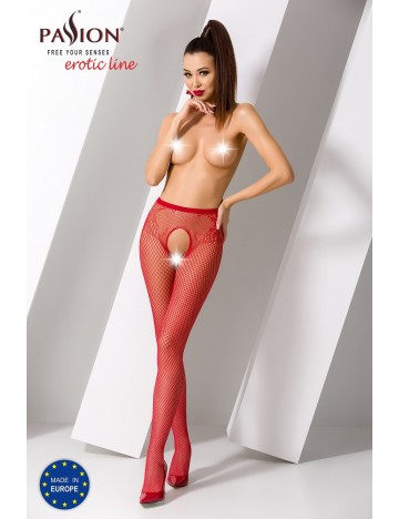 Collants Ouverts S019R Résille Rouge Passion