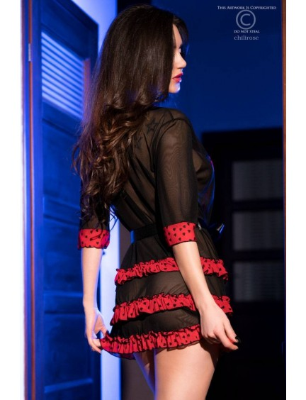 Peignoir déshabillé noir et rouge CHILIROSE